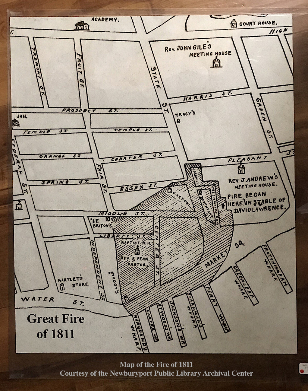 Map of the great fire of 1811, Newburyport MA