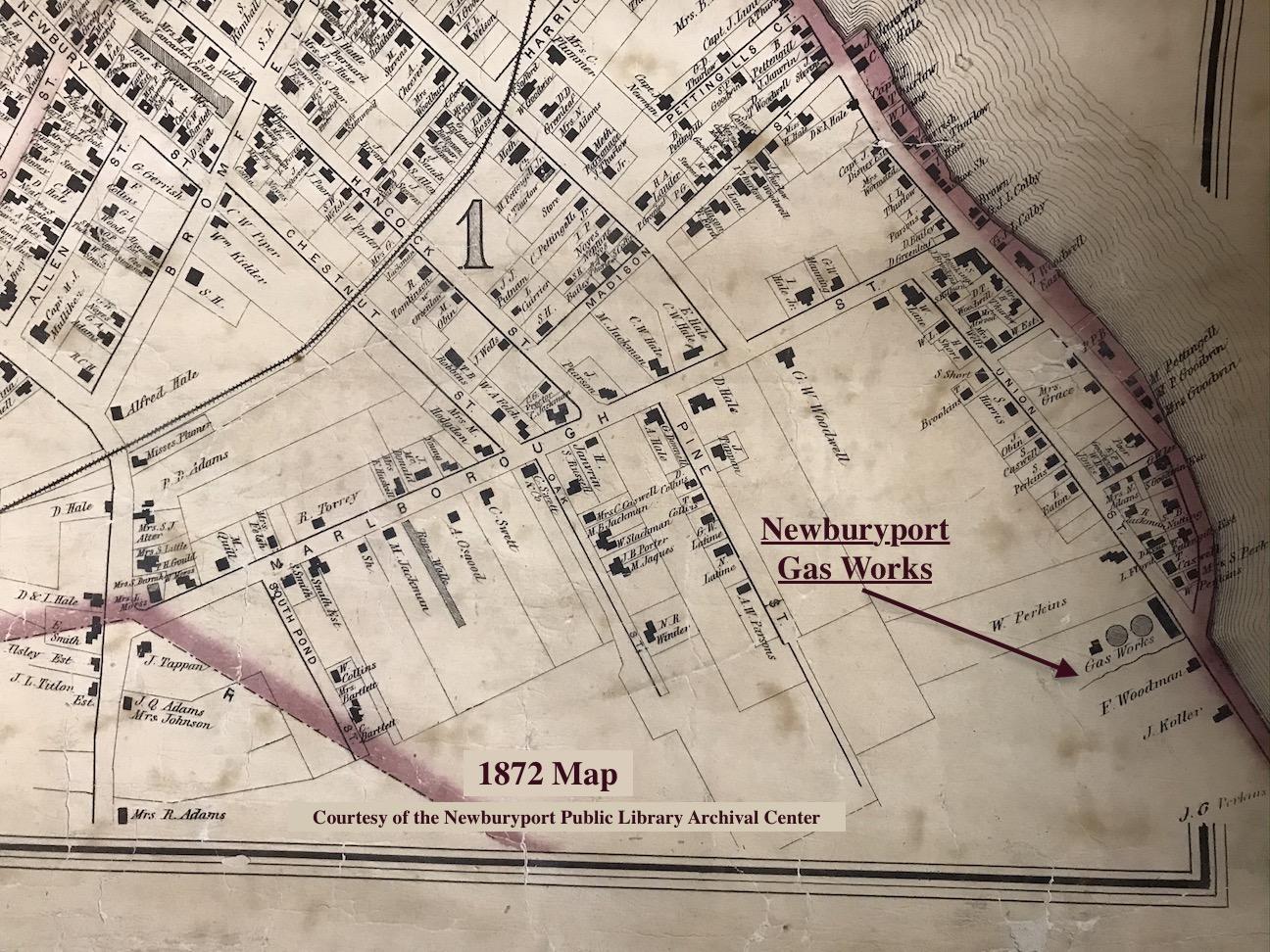 1872 Map for Newburyport Gas Works Newburyport MA
