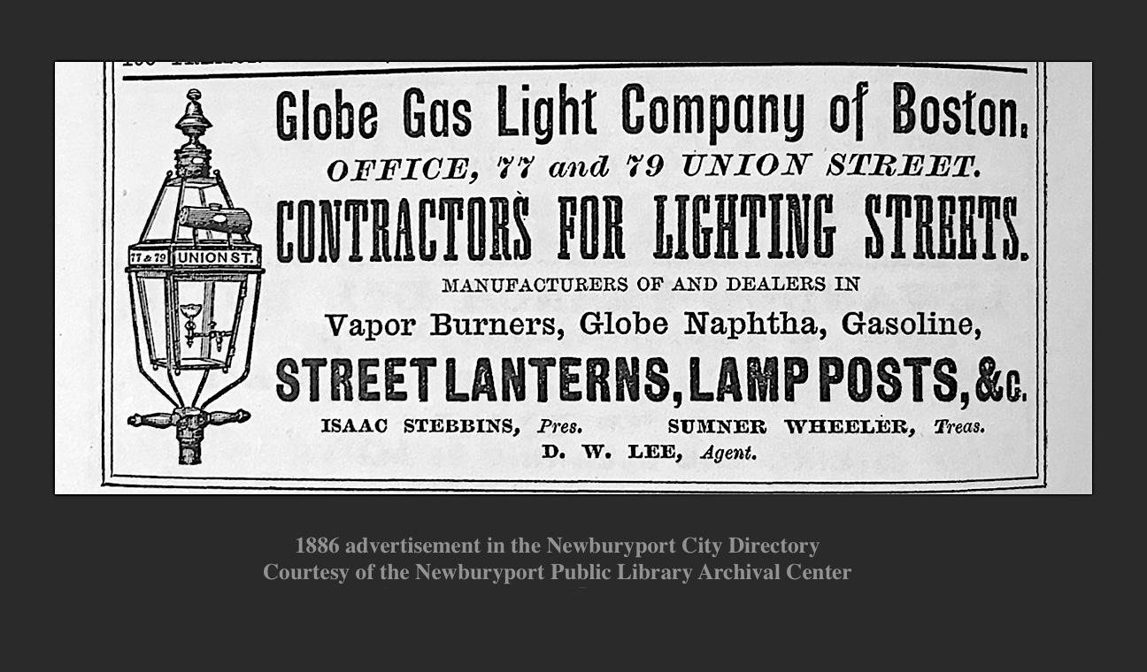1866 Advertisement for Globe Gas Light Company of Boston MA
