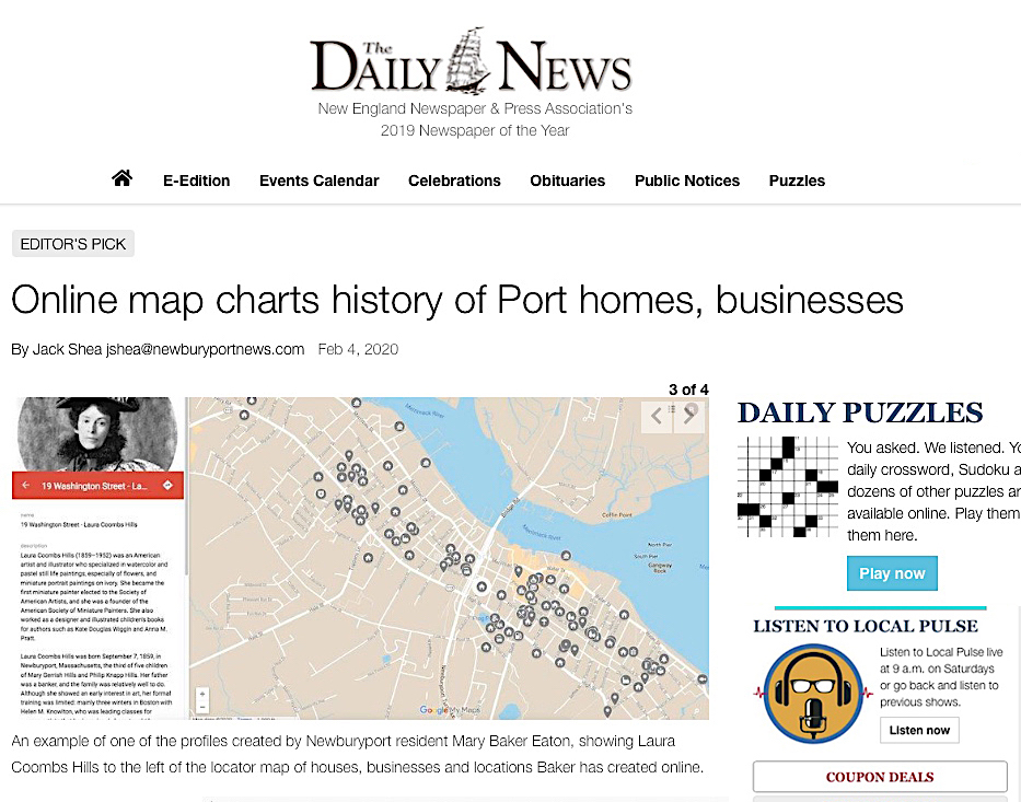 Daily News Article on Map Newburyport MA