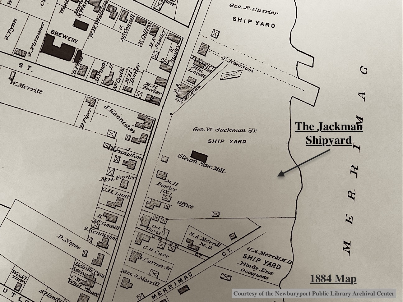 The Jackman Shipyard 1884 Map
