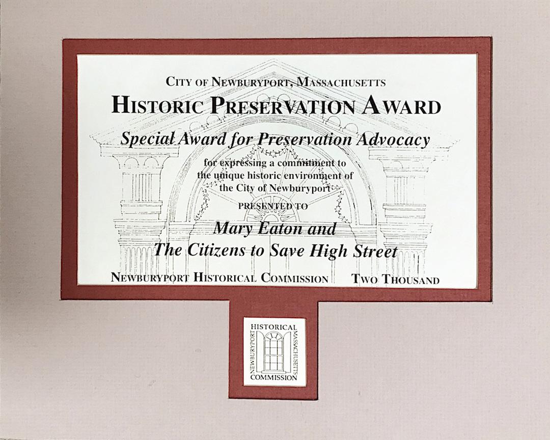 Mary Baker Eaton, Newburyport MA Preservation Award