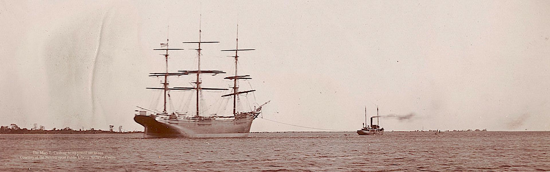 The John Currier Ship Being Towed Newburyport MA