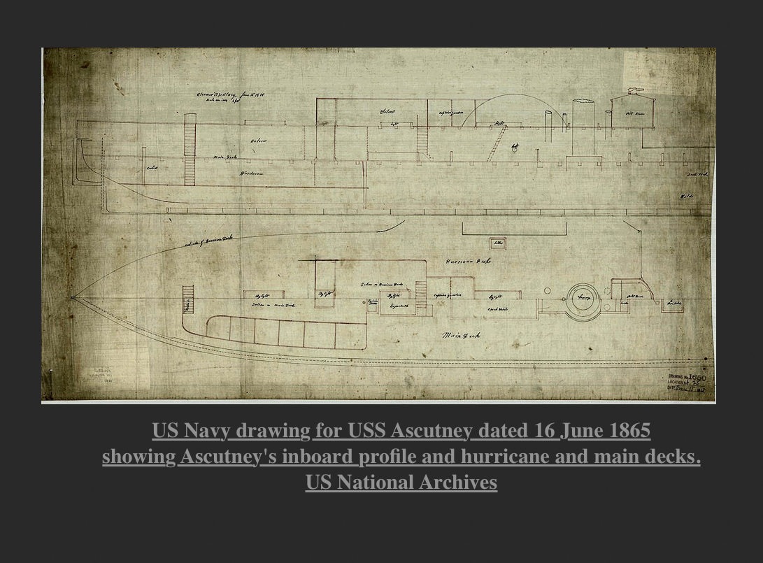 US Navy Drawing for USS Ascutney 1865