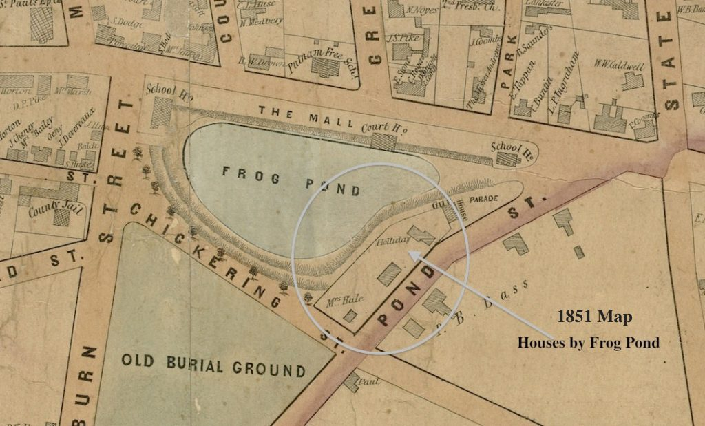 1851 Map Houses by Frog Pond Newburyport MA