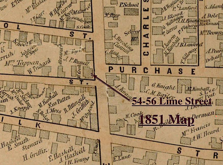 1851 Map of 54-56 Lime Street Newburyport MA