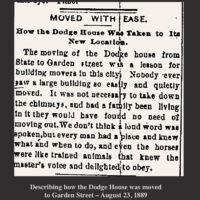 Describing how the Dodge House was moved to Garden Street 1889 Newburyport MA