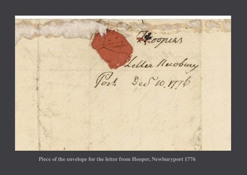 Piece of the envelope for the letter from Hooper Newburyport MA 1776
