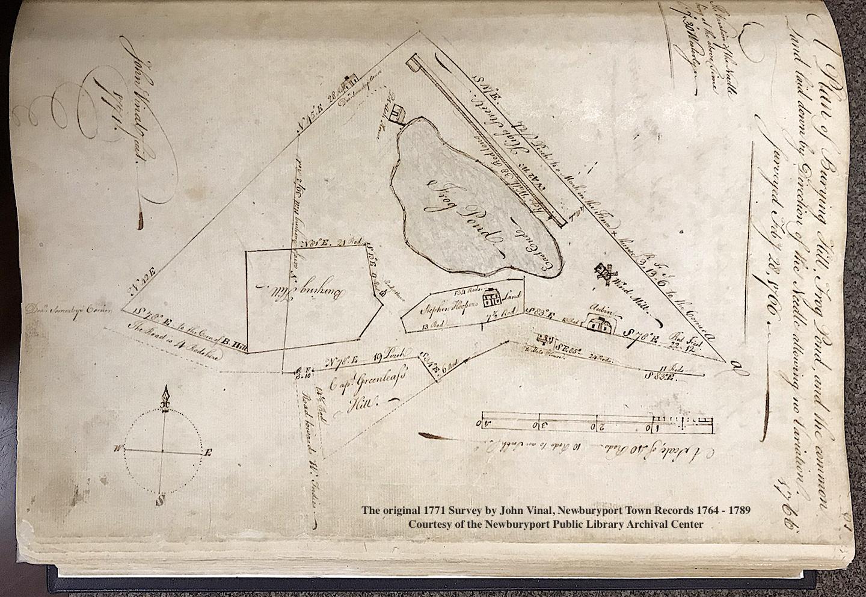 1771 Survey by John Vinal of Frog Pond Newburyport MA