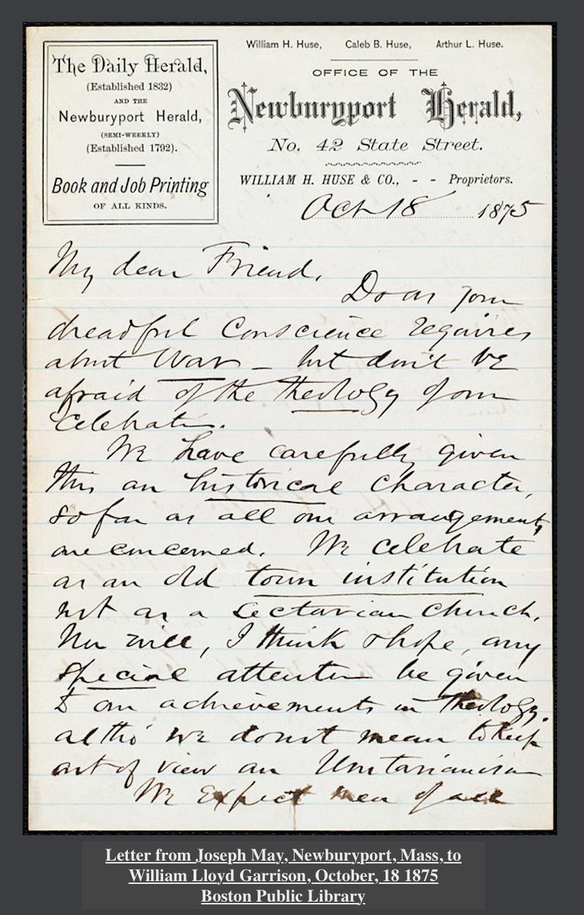 Letter from Joseph May Newburyport Mass to William Lloyd Garrison 1875