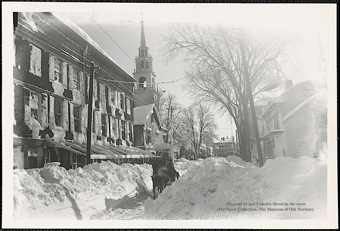 Pleasant Street and Unicorn Street in The Snow Newburyport MA