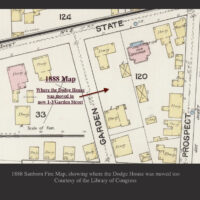 1888 Sanborn Fire Map showing where the Dodge House was moved to Newburyport MA