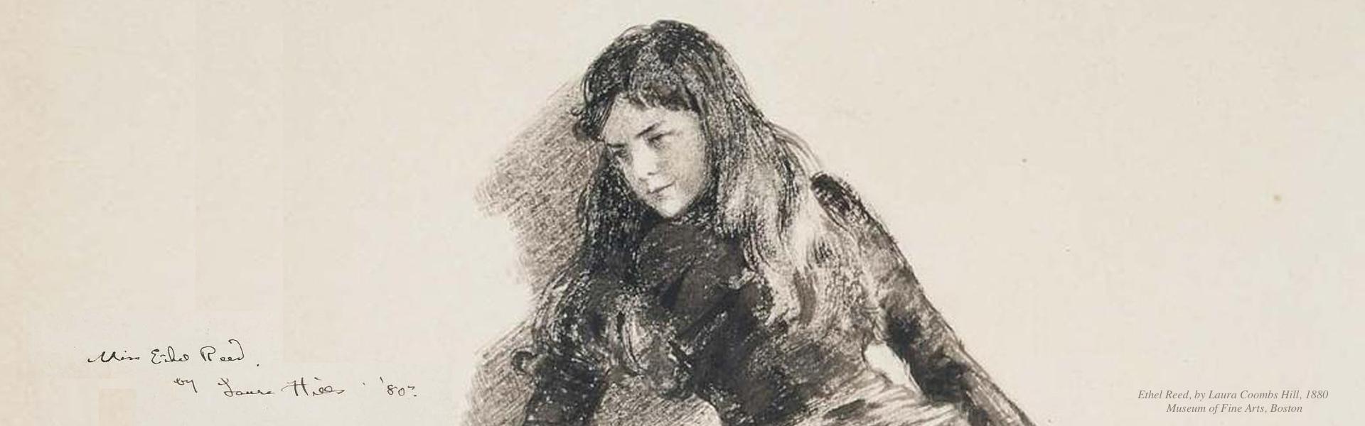Drawing of Ethel Reed Newburyport MA