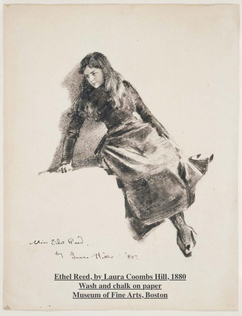 Drawing of Ethel Reed by Laura Coombs Hill