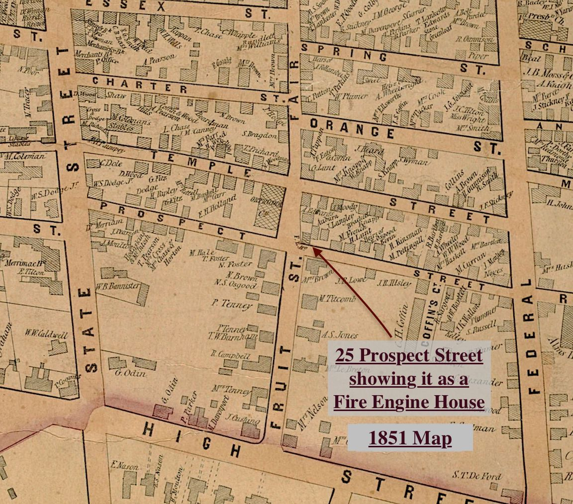 1851 map of 25 Prospect street showing it as a Fire Engine house Newburyport MA