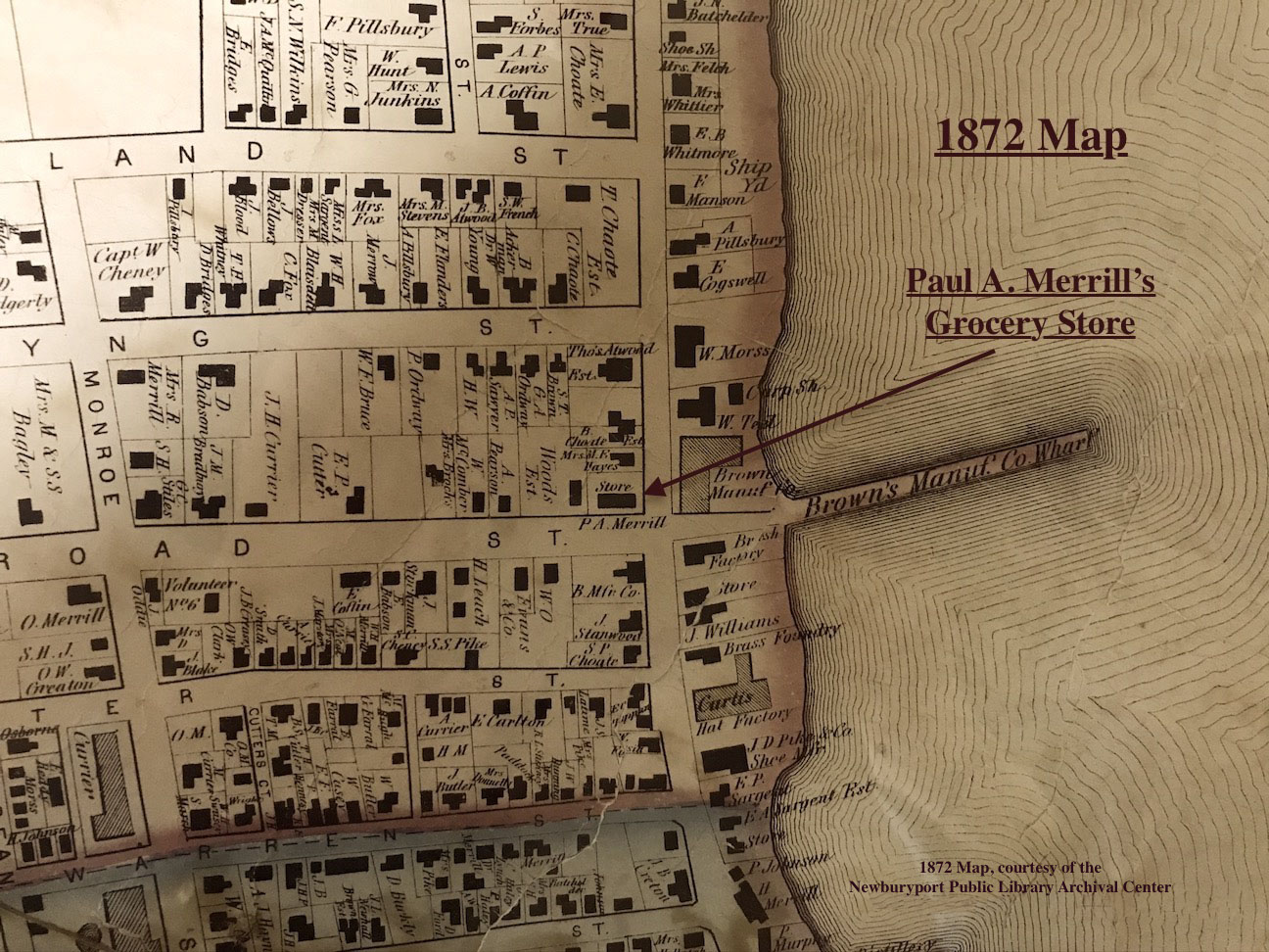 1872 Map Paul A. Merrill's Grocery Store Newburyport MA