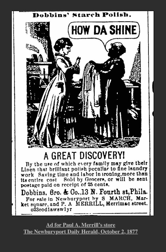 Ad for Paul A Merrill's store Newburyport MA