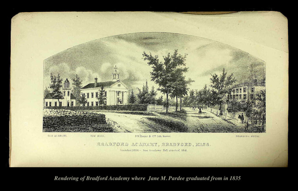 Rendering of Bradford Academy where Jane M. Pardee graduated from in 1835
