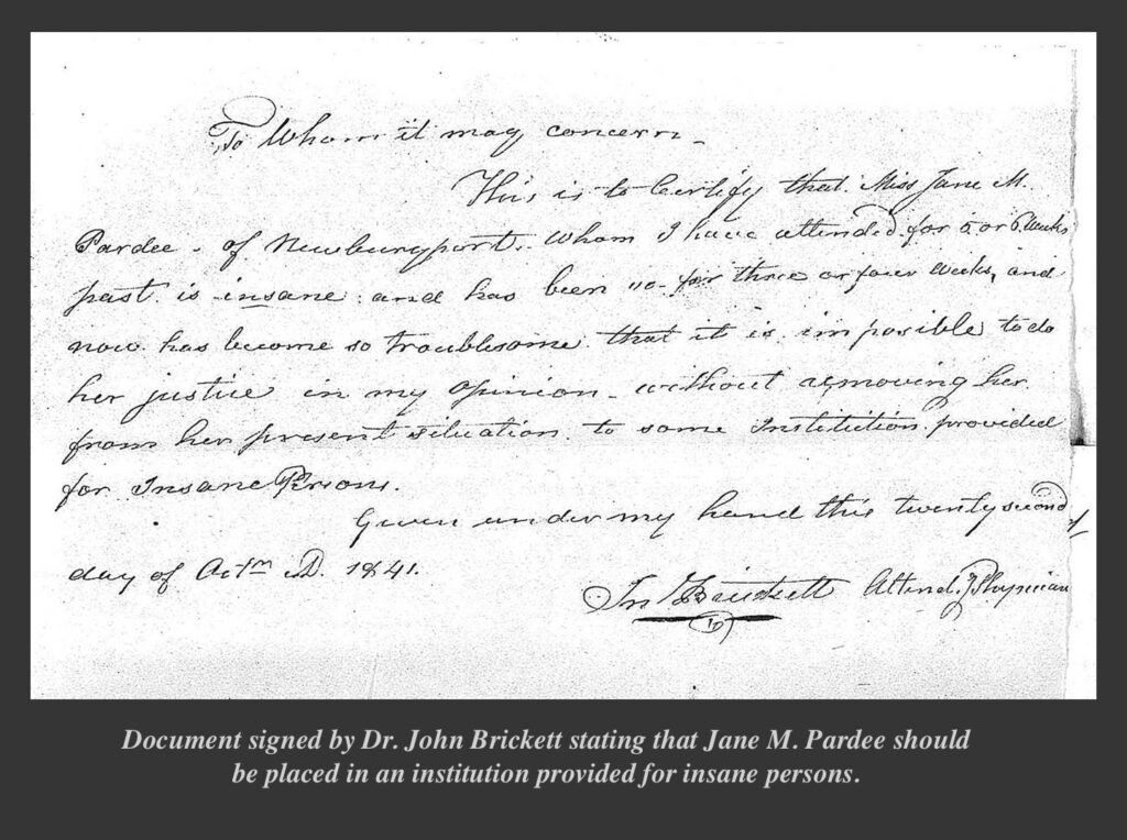 Legal document signed by Dr. John Brickett for Jane M. Pardee Newburyport
