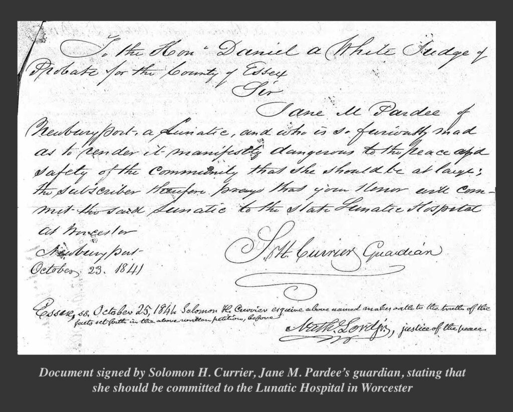 Document signed by Solomon H. Currier, Jane M. Pardee's guardian