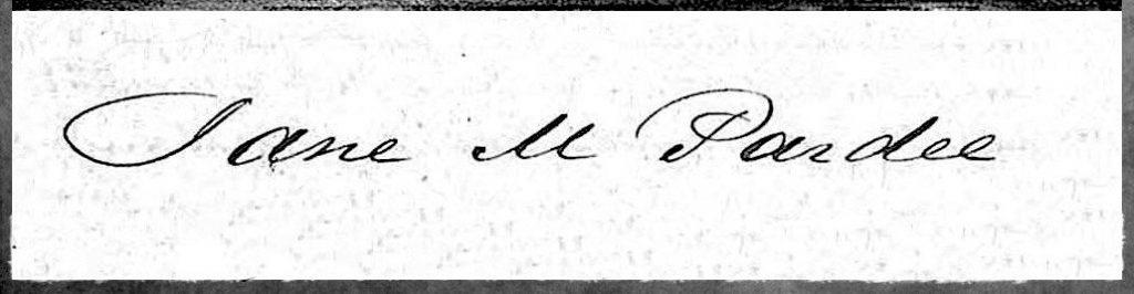 Jane M Pardee Signature